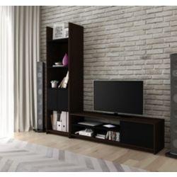 Bestar Small Space 2-Piece TV Stand and Storage Tower Set - Dark Chocolate & Black