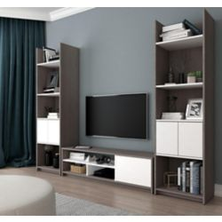 Bestar Small Space 3-Piece TV Stand and 2 Storage Towers Set - Bark Gray & White