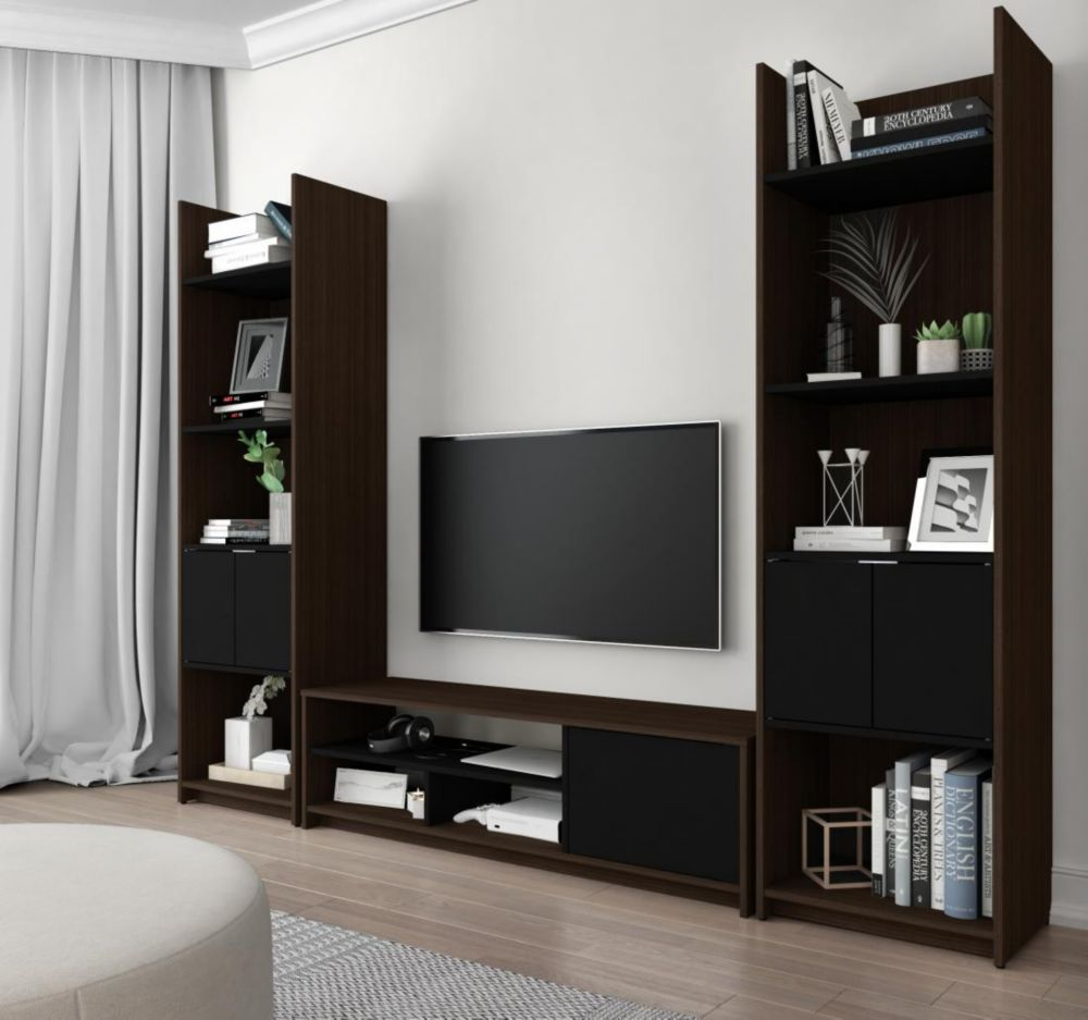 Small Space 3-Piece TV Stand and 2 Storage Towers Set - Dark Chocolate & Black