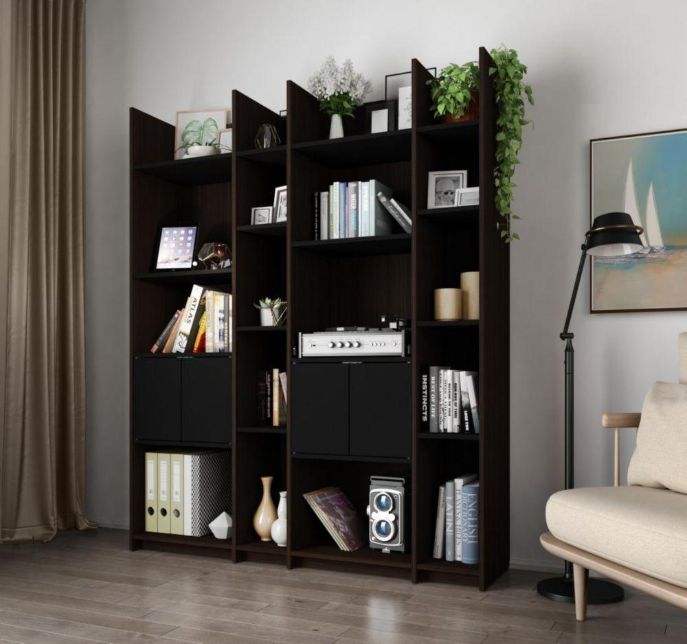 Bestar Small Space Storage Wall Unit - Dark Chocolate & Black
