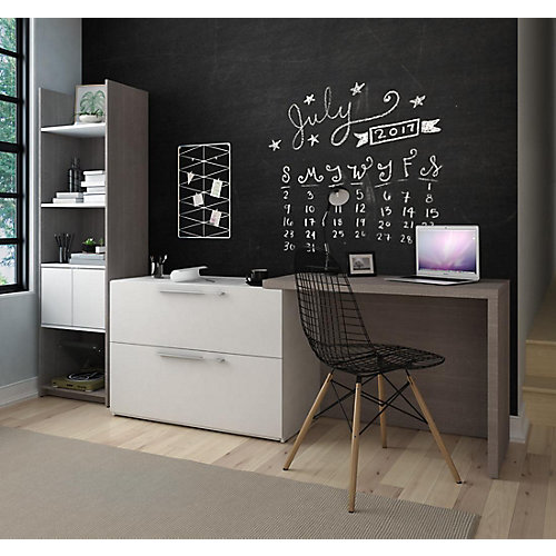 Small Space 2-Piece Sliding Computer Desk and 20-inch Storage Tower Set - Bark Gray & White