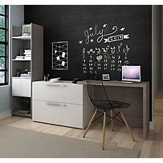 Small Space Ensemble Bureau avec classeur latéral et Unité de rangement - Gris Écorce et Blanc
