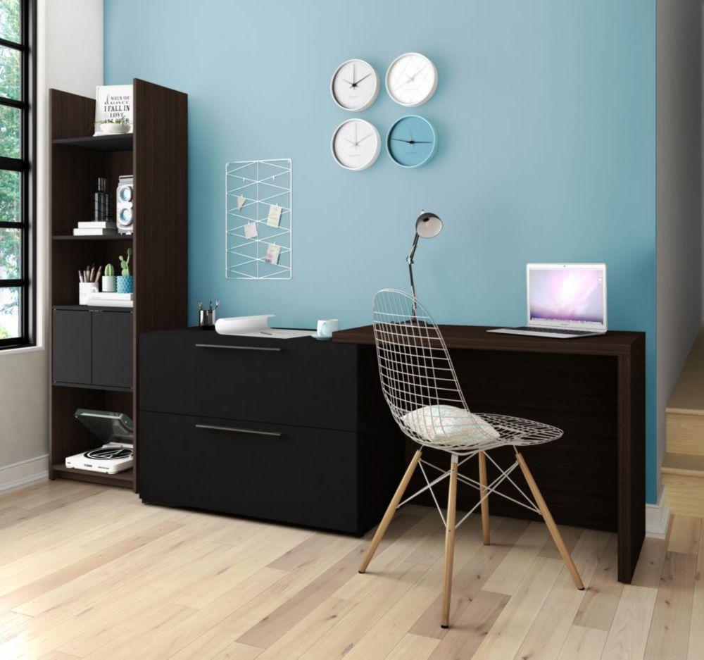 Small Space 2-Piece Sliding Computer Desk and 20-inch Storage Tower Set - Dark Chocolate & Black
