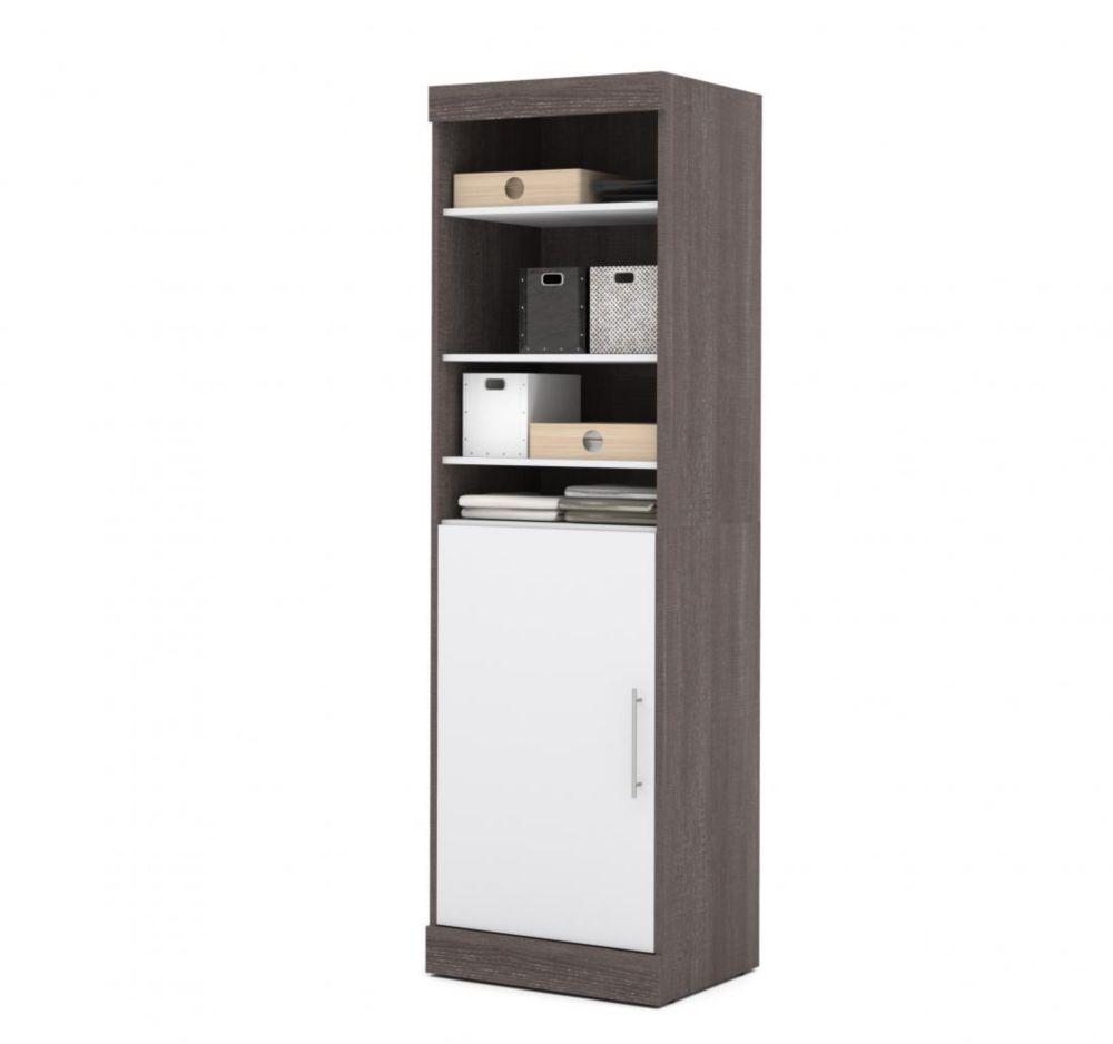 Nebula 25 inch Storage unit with door - Bark Gray & White