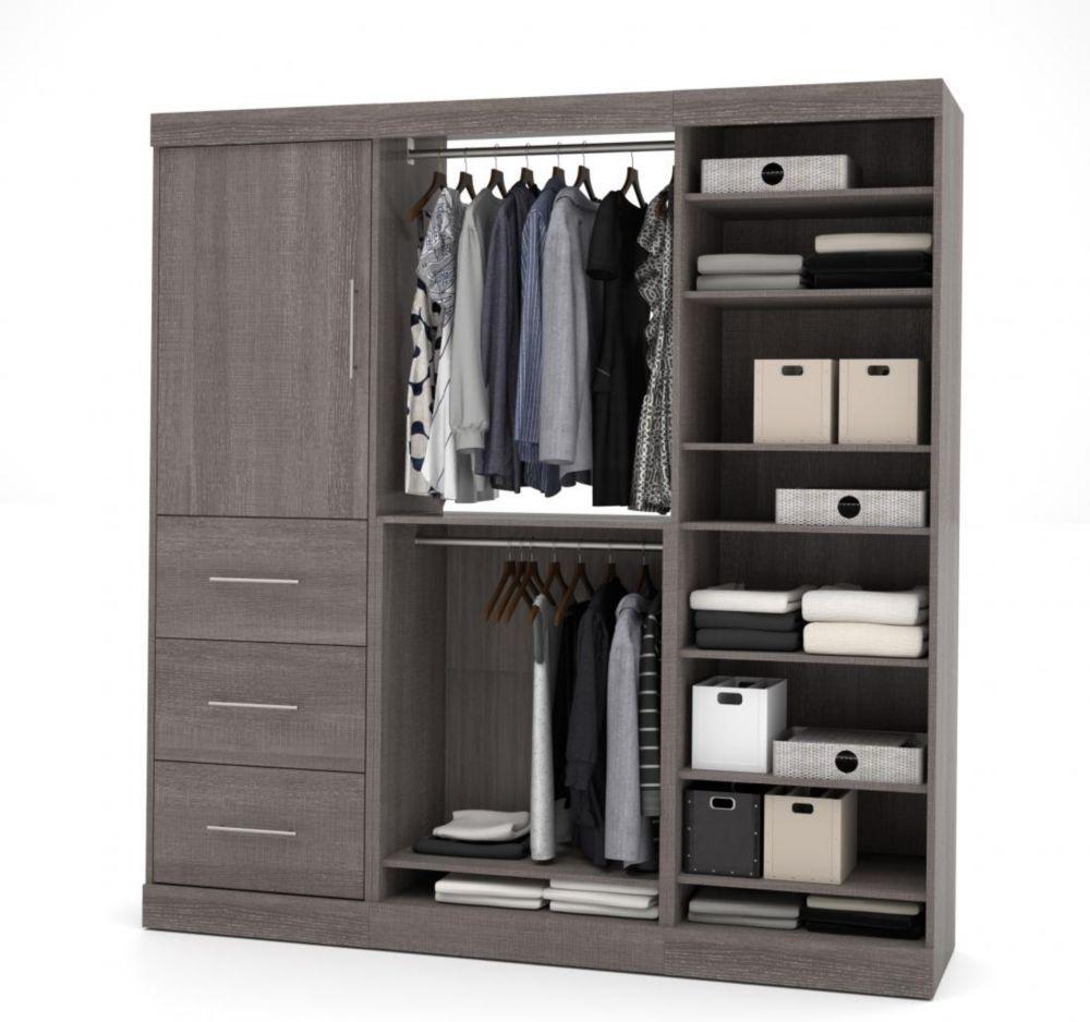 Nebula 80 inch Storage kit with 3 drawers - Bark Gray