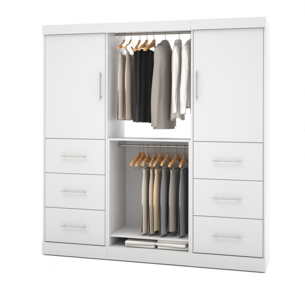 Bestar Nebula 80 inch Storage kit with 6 drawers - White