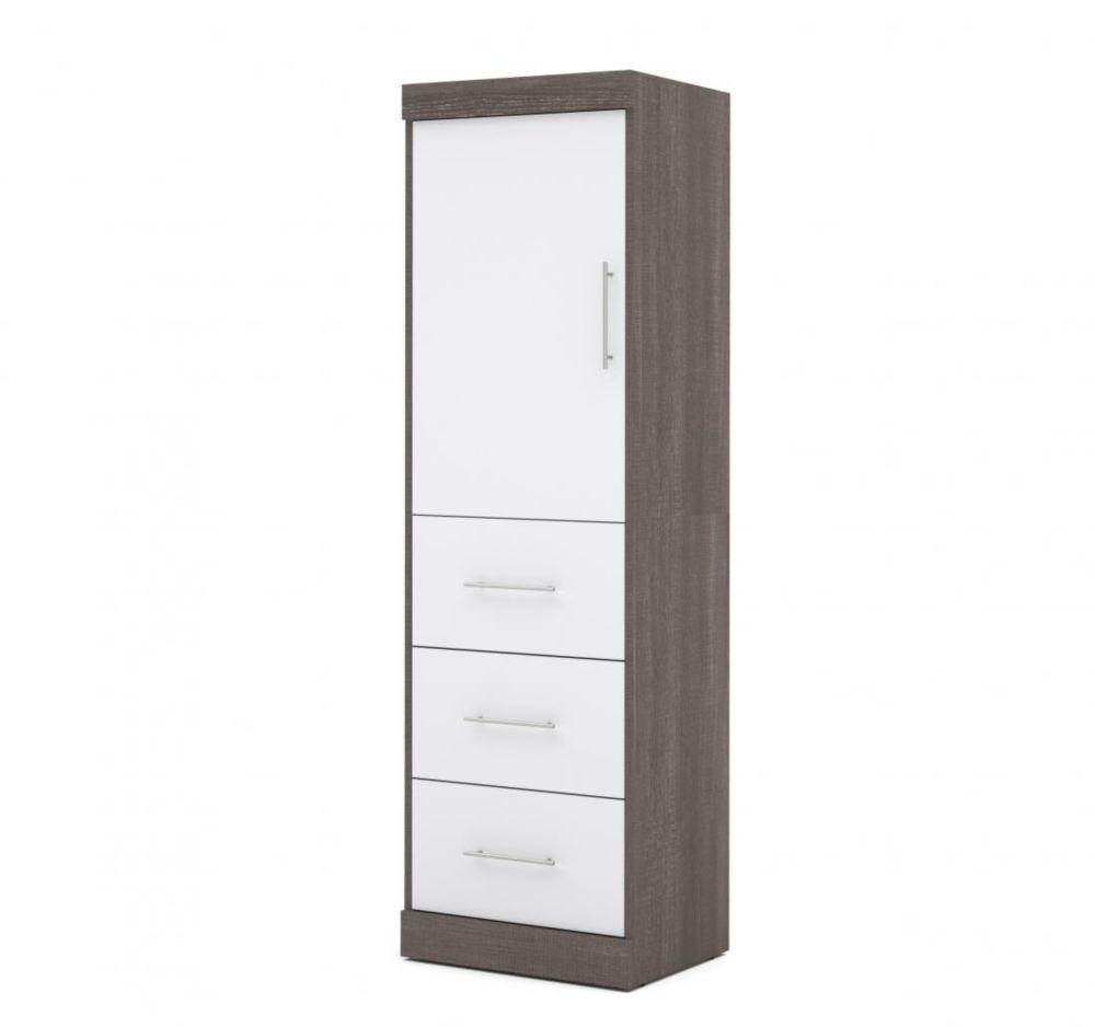 Nebula 25 inch Storage unit with door & drawers - Bark Gray & White
