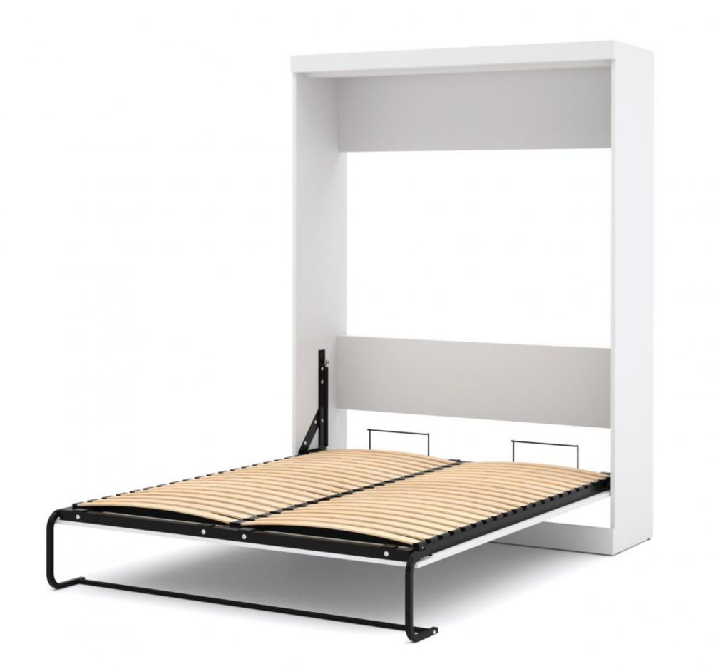 Nebula 90 inch Queen Wall bed including storage with drawers - White