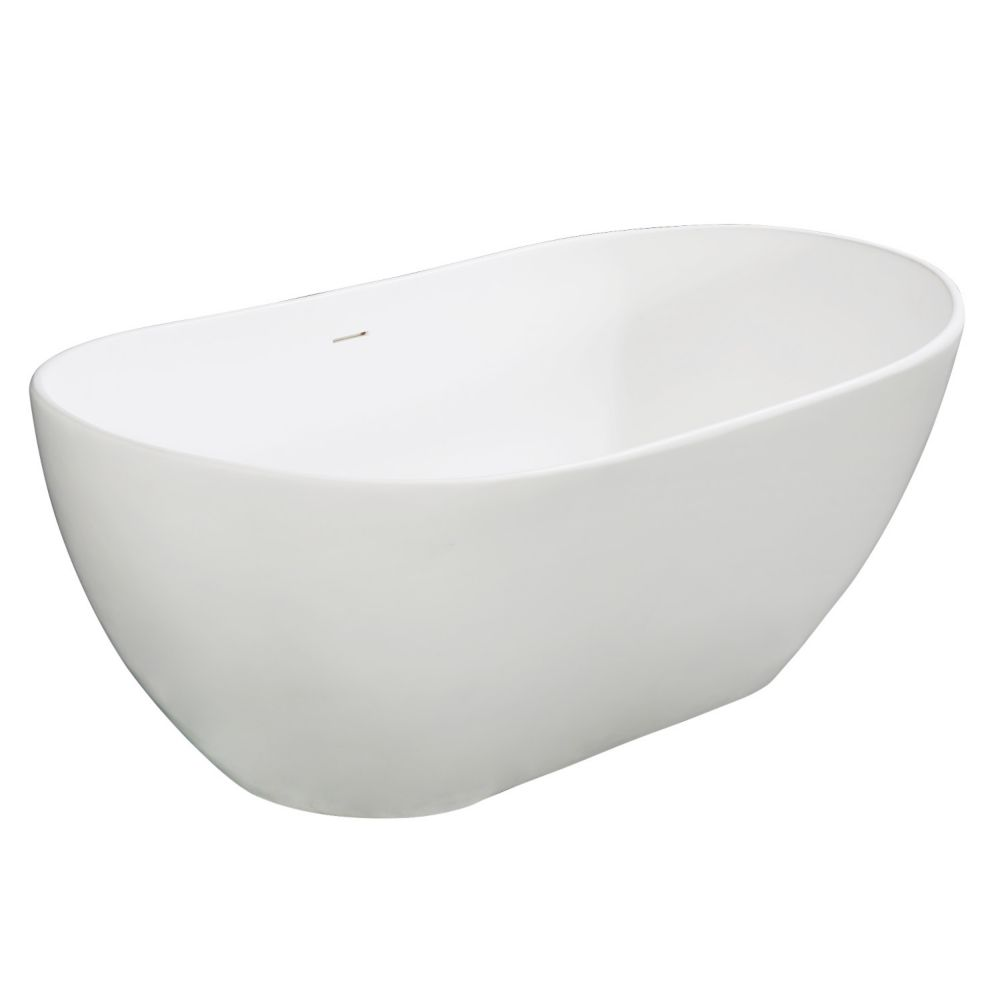 Aqua Eden Vera 64.6 inch Solid Surface Matte Stone Flat-bottom Freestanding Bathtub in White