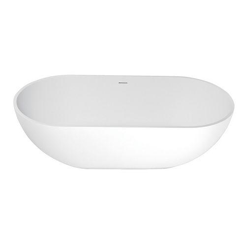 Aqua Eden Bryanna 70 inch Solid Surface Matte Stone Flat-bottom Freestanding Bathtub in White