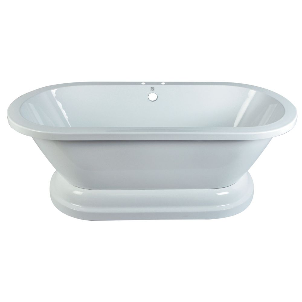 Aqua Eden 5.6 ft. Acrylic Double Ended Pedestal Tub with 7 inch Deck Holes in White