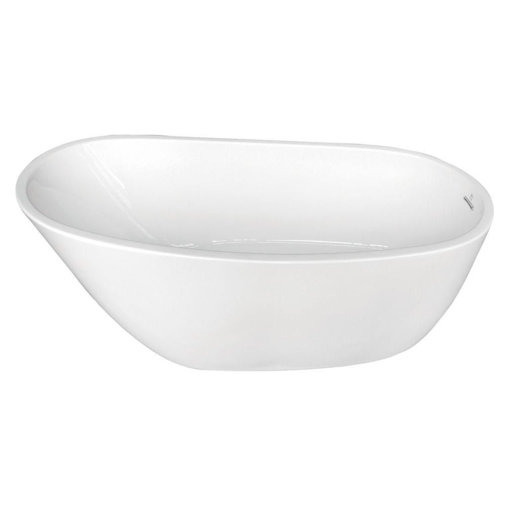 Aqua Eden Fusion 4.9 ft. Front Drain Non-Whirlpool Flat-bottom Freestanding Bathtub in White