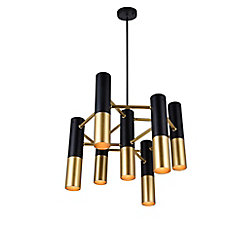CWI Lighting Anem 17-inch 7 Light Chandelier with Matte Black & Satin Gold Finish