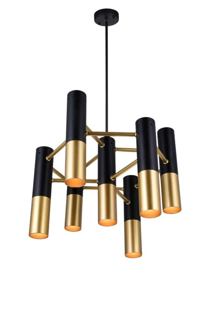CWI Lighting Anem 17-inch 7 Light Chandeleir with Matte Black & Satin Gold Finish