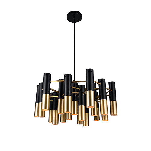 Anem 26-inch 19 Light Chandeleir with Matte Black & Satin Gold Finish
