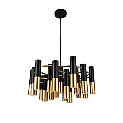 CWI Lighting Anem 26-inch 19 Light Chandelier with Matte Black & Satin Gold Finish
