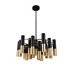 CWI Lighting Anem 26-inch 19 Light Chandelier with Matte Black & Satin Gold Finish