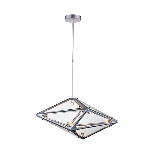 Pento 24-inch 8 Light Chandelier with Silver Finish