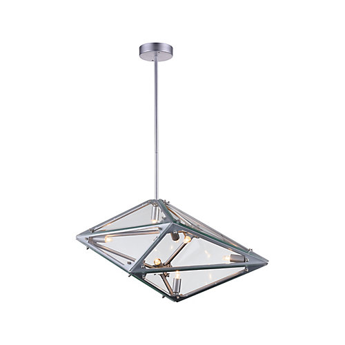 Pento 29-inch 8 Light Chandelier with Silver Finish