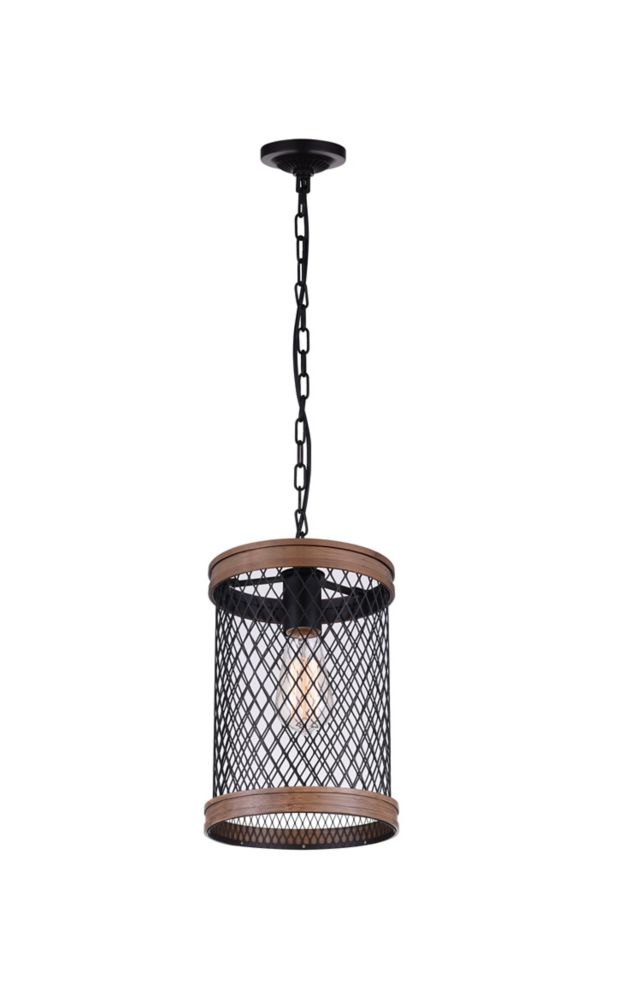 CWI Lighting Torres 8-inch 1 Light Pendant with Black Finish