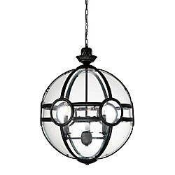 Beas 14-inch 3 Light Chandelier with Sphere Shape and Black Finish