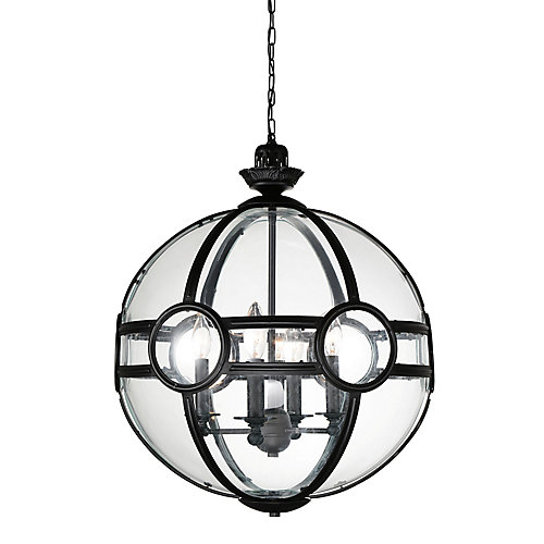 Beas 25-inch 5 Light Chandelier with Sphere Shape and Black Finish
