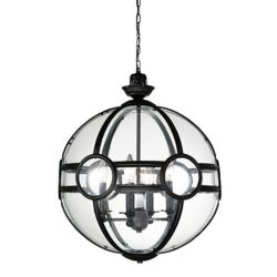 CWI Lighting Beas 25-inch 5 Light Chandelier with Sphere Shape and Black Finish