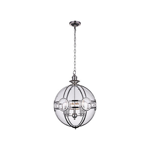 Beas 25-inch 5 Light Chandelier with Sphere Shape and Chrome Finish