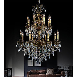 Brass 29-inch 16-Light Chandelier with French Gold Finish