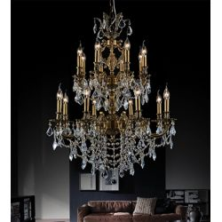 CWI Lighting Brass 29-inch 16 Light Chandelier with French Gold Finish