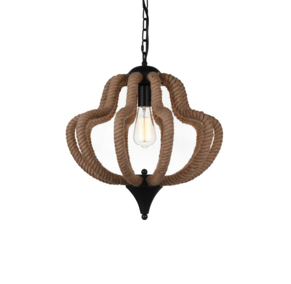 CWI Lighting Padma 17-inch 1-Light Chandelier with Black Finish