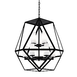 Trenton 26-inch 9 Light Chandelier with Black Finish