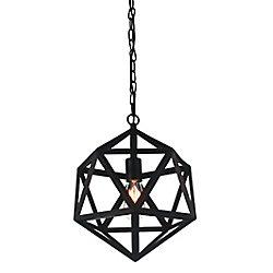Dia 17-inch 1 Light Pendant with Black Finish