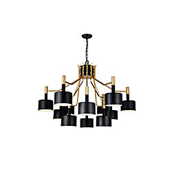 CWI Lighting Corna 32-inch 12 Light Chandelier with Matte Black Finish