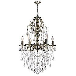 CWI Lighting Brass 24-inch 6 Light Chandelier with Antique Brass Finish