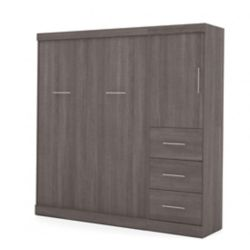 Bestar Nebula 84 inch Full Wall bed including storage with drawers - Bark Gray