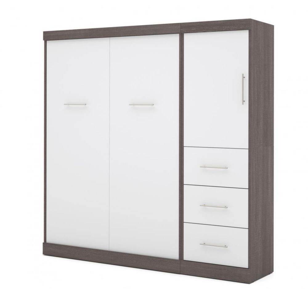 Nebula 84 inch Full Wall bed including storage with drawers - Bark Gray & White