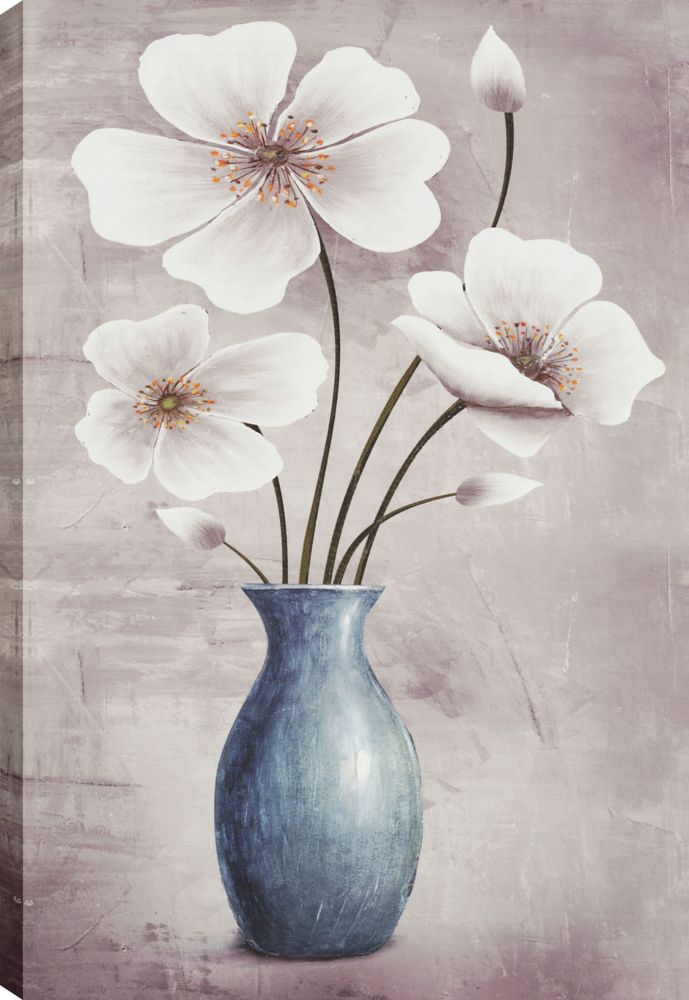 Flower Pot Décor I, Floral Art, Canvas Print Wall Art
