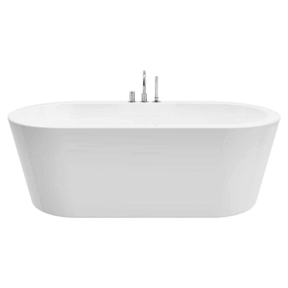 A&E Bath and Shower Dexter 71 inch Acrylic Freestanding Flatbottom Non-Whirlpool Bathtub in White All-in-One Kit