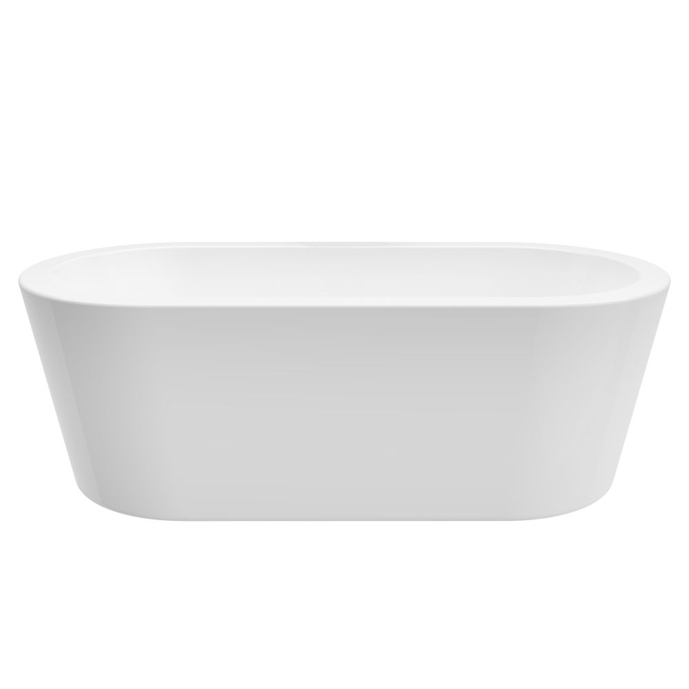 A&E Bath and Shower Dexter 71 inch Acrylic Freestanding Flatbottom Non-Whirlpool Bathtub in White No faucet