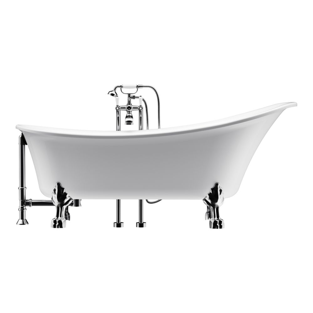 A&E Bath and Shower Achilles 69 inch Acrylic Ball and Clawfoot Slipper Non-Whirlpool Bathtub in White All-in-One Kit