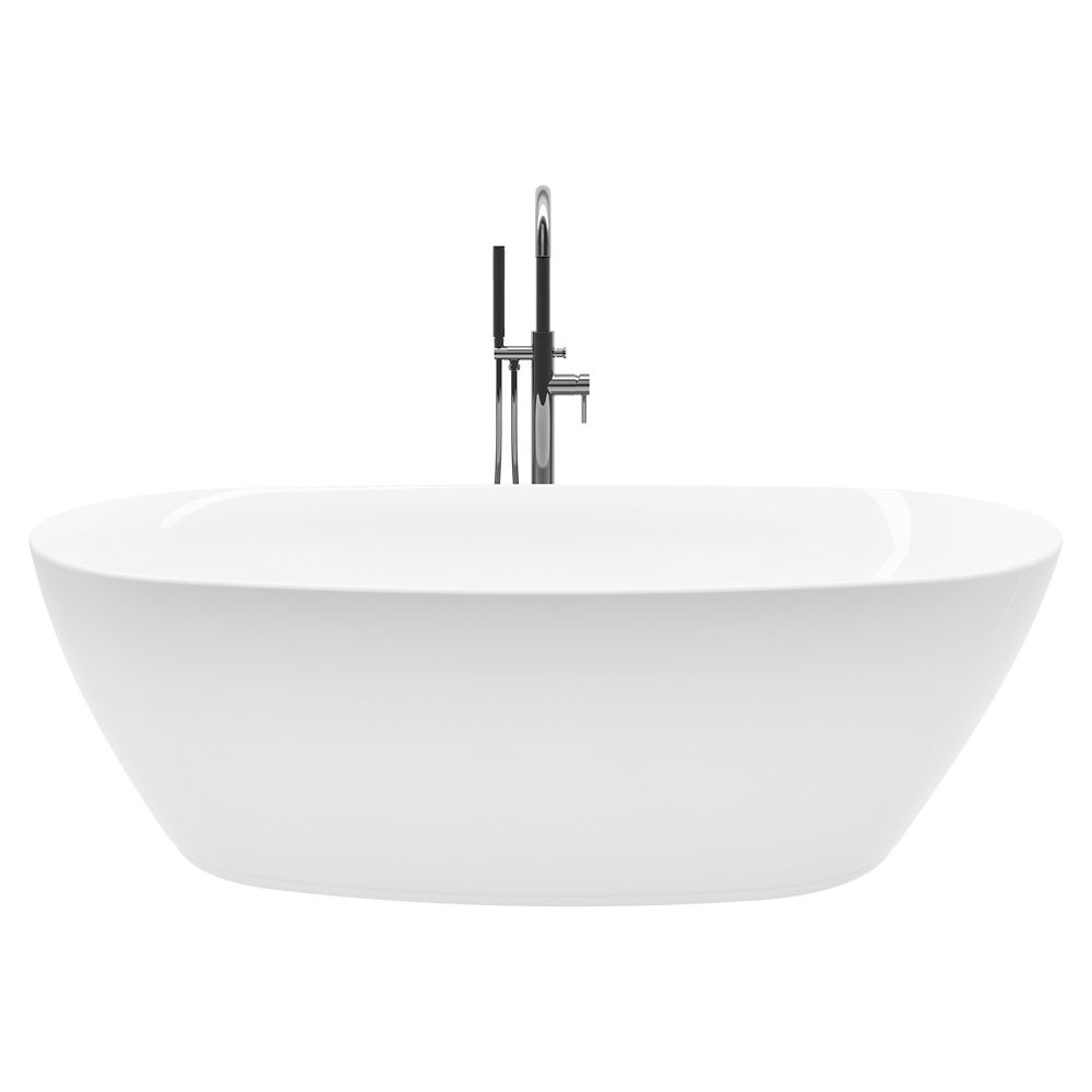 Columbus 71 inch Acrylic Freestanding Flatbottom Non-Whirlpool Bathtub in White All-in-One Kit