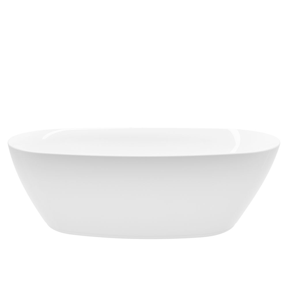 A&E Bath and Shower Columbus 71 inch Acrylic Freestanding Flatbottom Non-Whirlpool Bathtub in White No faucet