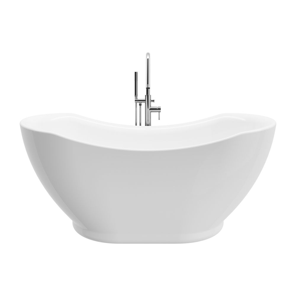 A&E Bath and Shower Athena 67 inch Acrylic Freestanding Flatbottom Non-Whirlpool Bathtub in White All-in-One Kit