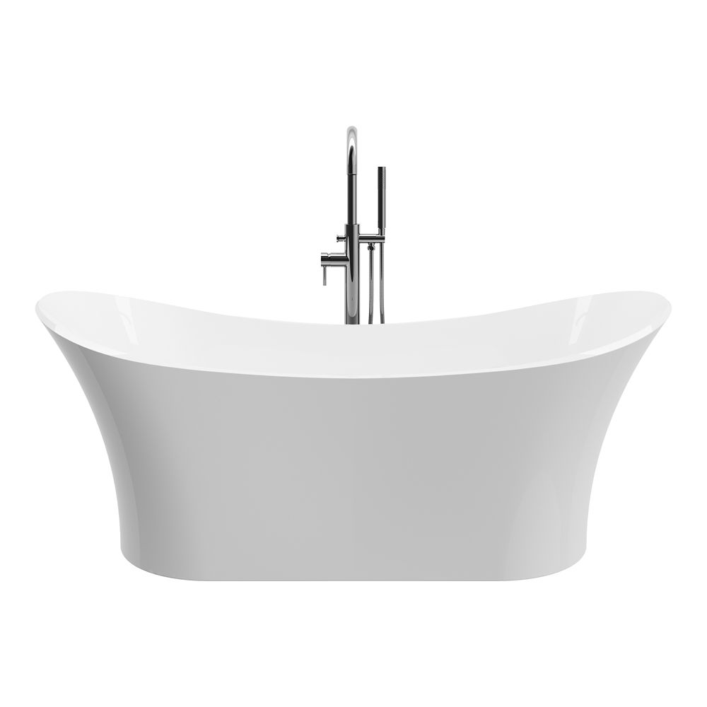 A&E Bath and Shower Ariel 69 inch Freestanding Solid Surface Resin Flatbottom Non-Whirlpool Bathtub in White No faucet
