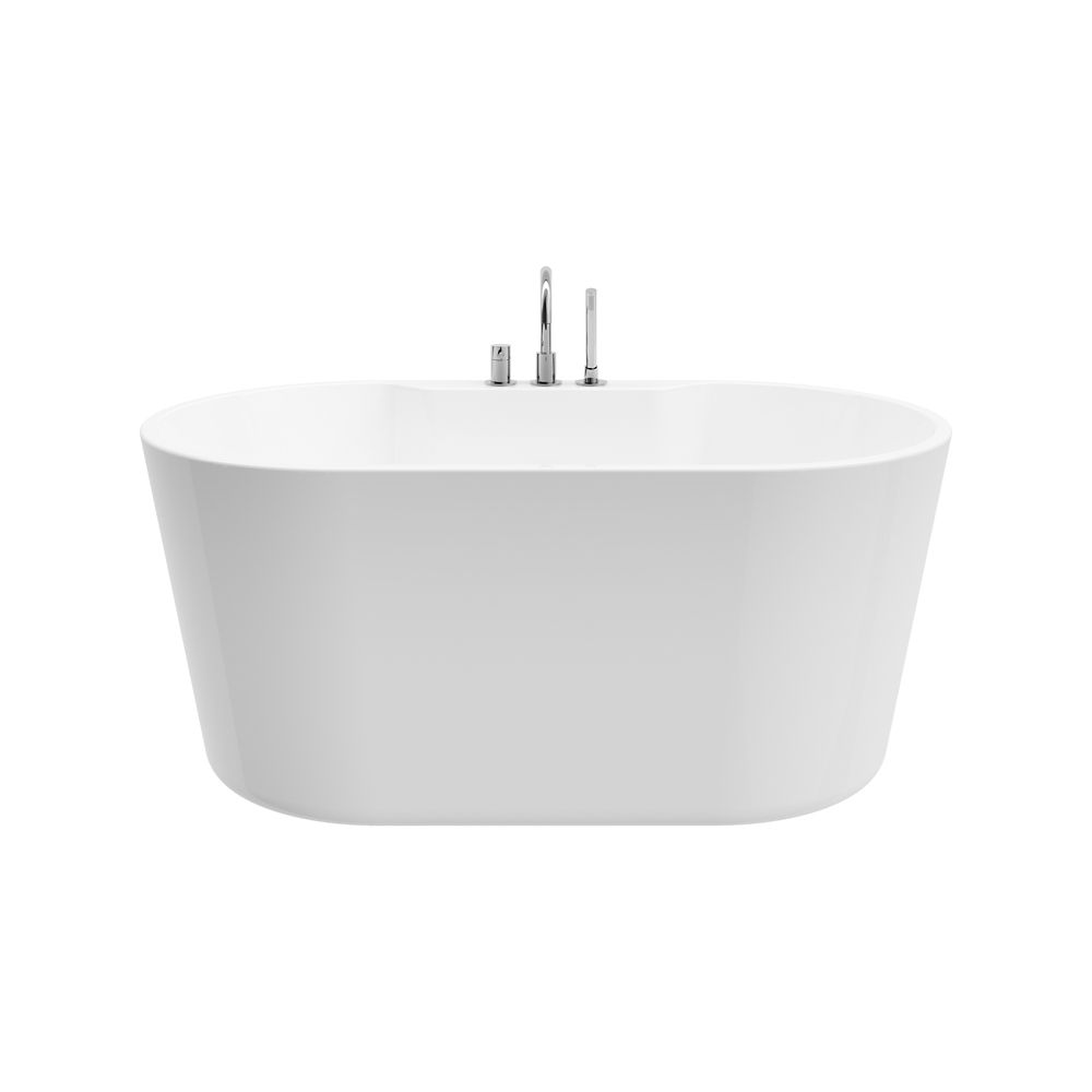 A&E Bath and Shower Coral 56 inch Acrylic Freestanding Flatbottom Non-Whirlpool Bathtub in White All-in-One Kit
