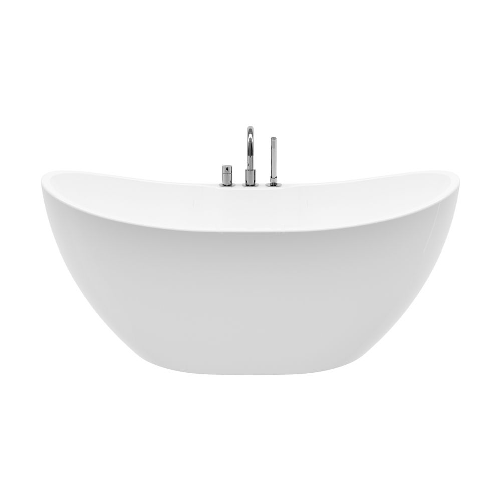 A&E Bath and Shower Boreal 69 inch Acrylic Freestanding Flatbottom Non-Whirlpool Bathtub in White All-in-One Kit