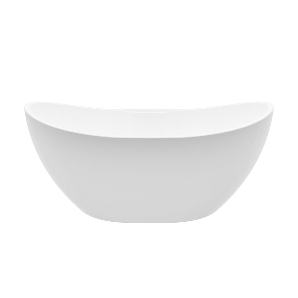 A&E Bath and Shower Boreal 69 inch Acrylic Freestanding Flatbottom Non-Whirlpool Bathtub in White No faucet