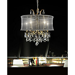 CWI Lighting Halo 22-inch 5 Light Chandelier with Antique Brass Finish