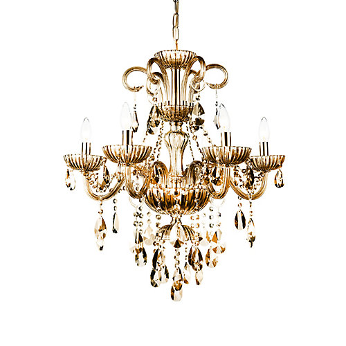 Casper 24-inch 6 Light Chandelier with Cognac Finish